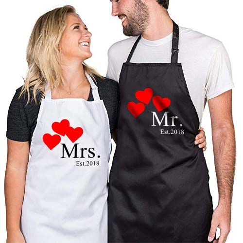 kado pernikahan celemek couple custom tema jantung