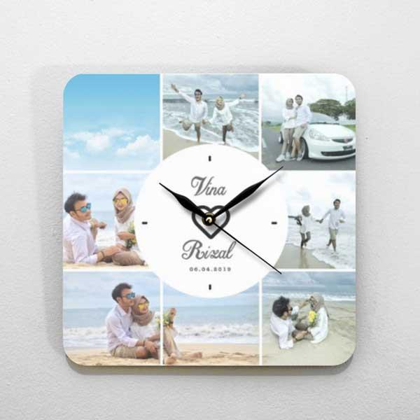 Hadiah Pernikahan untuk Sahabat Perempuan jam kayu tema foto standart