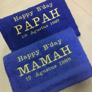 hadiah untuk orang tua tercinta handuk couple custom no packing
